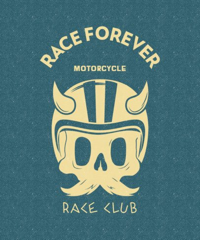 Bikers Racing Club T-Shirt Design Template Featuring a Skull With a Mustache 2134a