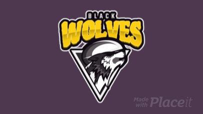 Rugby Logo Creator with a Fierce Wolf Icon 120n-2862