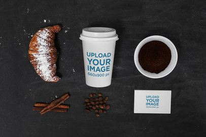 Coffee Cup Mockup Featuring Business Cards and a Croissant 2182-el1