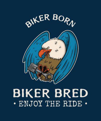 Biker Club T-Shirt Maker with a Tough-Looking Eagle 2132a