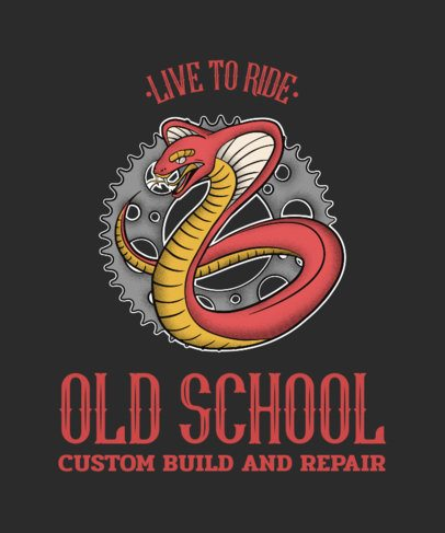 Cool T-Shirt Template for a Biker Club with a Snake Graphic 2132d