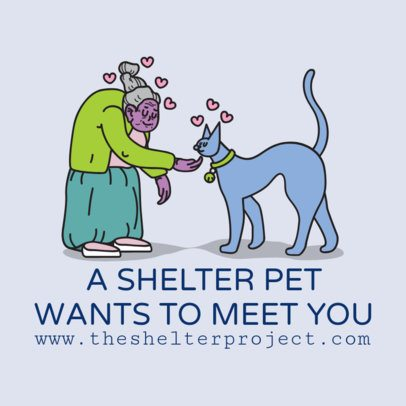 Pet Shelter Instagram Post Generator Featuring Adorable Graphics 2118e 2144