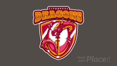 Animated Rugby Logo Maker with a Dragon Clipart 1619b