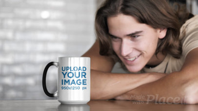 Video of a Man Watching a 15 oz Magic Mug Change Its Color 31575