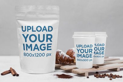 Packaging Mockup Featuring a Zip Bag and Two Coffee Cups 2186-el1