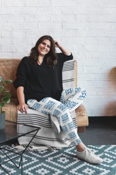 Plus Size Leggings Mockup Featuring a Woman Sitting on a Couch 30960