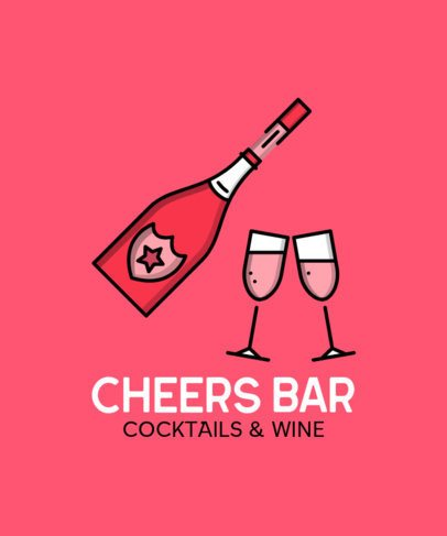 T-Shirt Design Template for a Cocktail and Wine Bar 596b-el1