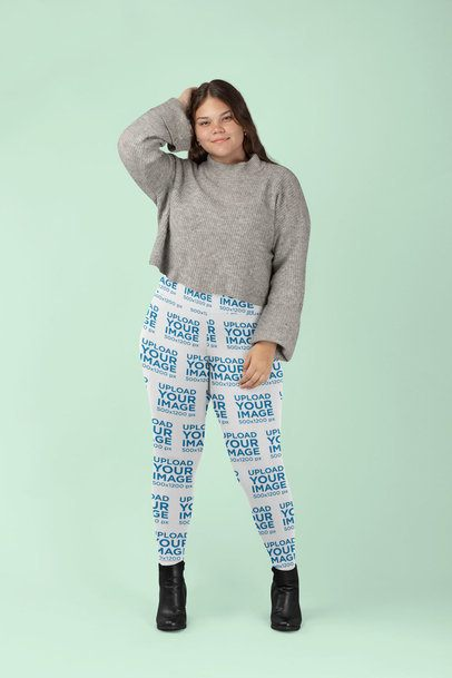 Mockup of a Woman with Plus Size Leggings at a Studio 30972