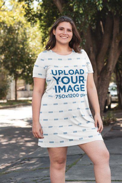 Plus Size Mockup Featuring a Woman Wearing a Shift Dress 30963