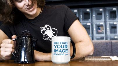 Video of a Young Man Pouring Coffee Into an 15 oz Magic Mug 31576