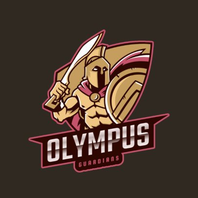 Gaming Logo Template Featuring a Spartan Soldier with a Sword 2871e