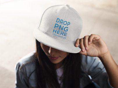 Snapback Hat Mockup of a Trendy Girl 11712a