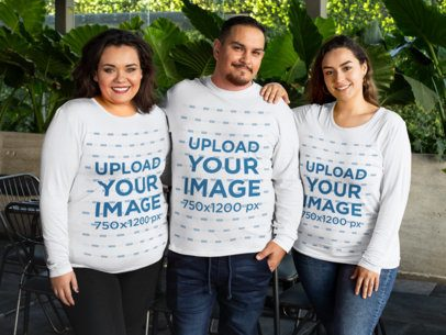 Mockup Featuring Three Friends Wearing Plus Size Long Sleeve Tees 31064