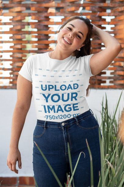 Plus Size T-Shirt Mockup of a Happy Woman in Her Patio 31034