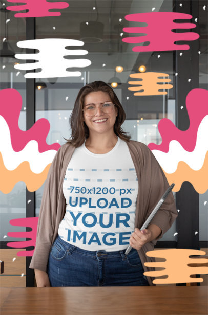Mockup of a Woman Wearing a Plus Size Tee at Her Office 30896
