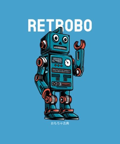 Astro T-Shirt Design Template with a Robot Cartoon 234a-el1