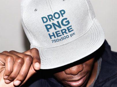 Snapback Hat Mockup of a Stylish Black Guy 11778a