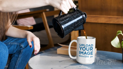 Video of a Woman Serving Coffee in a 15 oz Mug 31590