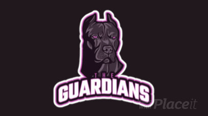 Sports Logo Template Featuring an Animated Aggressive Guardian Dog 21hh-2892b