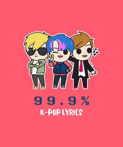 T-Shirt Design Template Featuring a K-Pop Boy Band Illustration 2199f