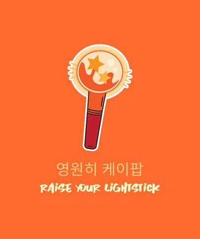 K-Pop T-Shirt Design Generator Featuring a Light Stick Illustration 2199k