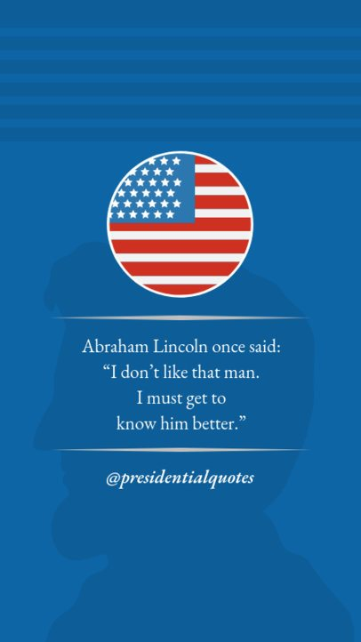 Quote Instagram Story Maker for Presidents Day with an American Flag Icon 2203c
