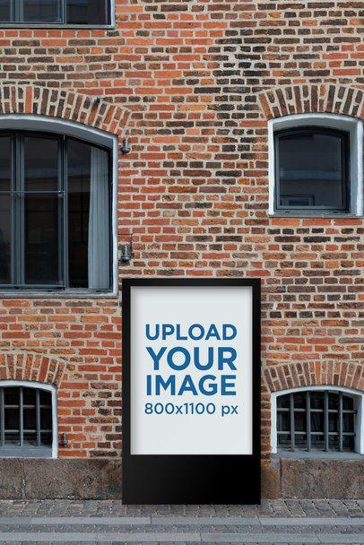 Mockup of a MUPI on a Vintage-Looking Brick Wall Building 2491-el1