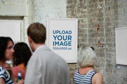 Mockup of an Art Print Frame in a Gallery 2638-el1