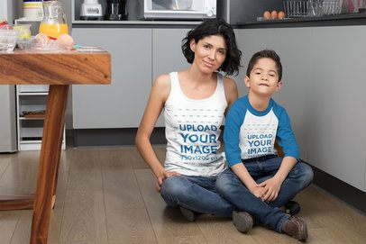 Tank Top Mockup of a Mom with Her Son in a Raglan Tee 31411