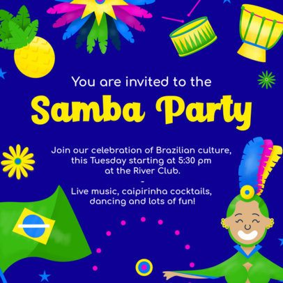 Instagram Post Template for a Samba Party with a Colorful Frame 2039h-2211