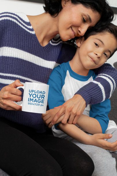 11 oz Coffee Mug Mockup of a Mom Hugging Her Son 31418