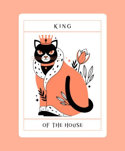 Tarot T-Shirt Design Template Featuring an Illustrated Cat With a Crown 2198d