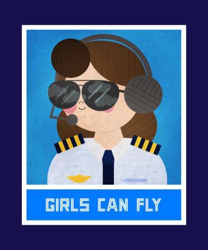 Feminist T-Shirt Design Maker with a Pilot Illustration 2193f