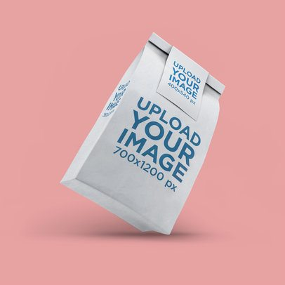 Mockup of a Paper Bag Leaning over a Flat Surface 2582-el1
