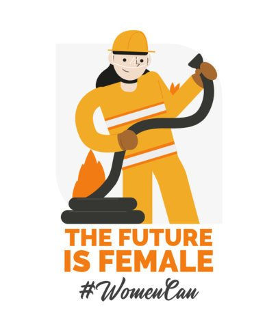 The Future is Female T-Shirt Design Maker Featuring a Firefighter 2192h