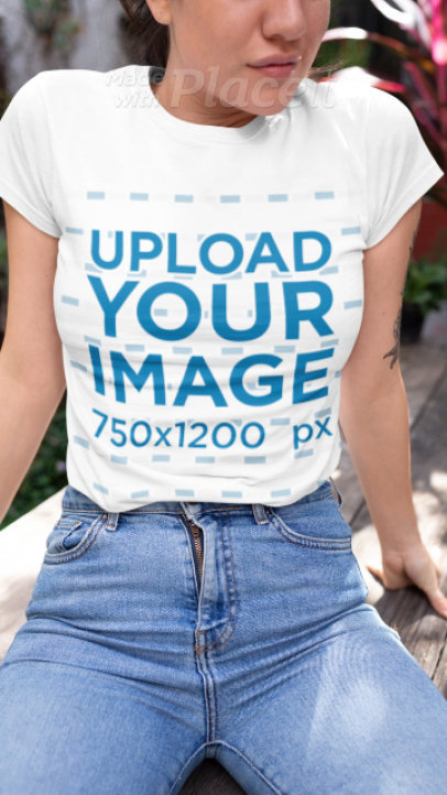 T-Shirt Video of a Woman Sitting on a Wooden Table 22463