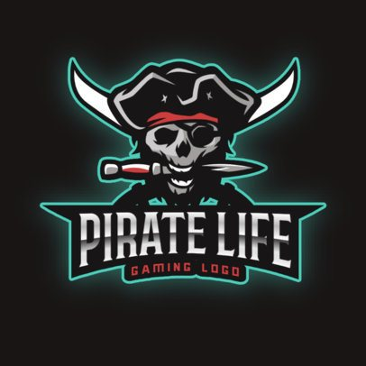 Gaming Logo Template with a Pirate Skull Holding a Knife 2811aa-2927