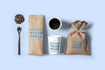 Coffee Bag Mockup Featuring a Paper Cup and a Burlap Bag 2627-el1