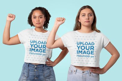 Crop Top Mockup Featuring Two Strong Women in a Studio 31979