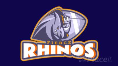 Animated Football Logo Template Featuring an Aggressive Rhino Illustration 1748s-2932