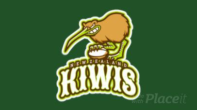 Animated Sports Logo Template Featuring a Fierce Kiwi Bird 1616n-2932