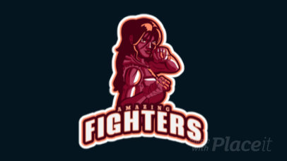 Animated Gaming Logo Generator With a Female Fighter Clipart 1746k-2927