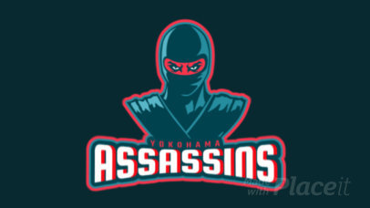 Animated Gaming Logo Maker Featuring an Anonymous Ninja Warrior 1748v-2930