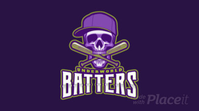 Epic Baseball Logo Generator Featuring an Animated Skull with Bates 172nn-2929