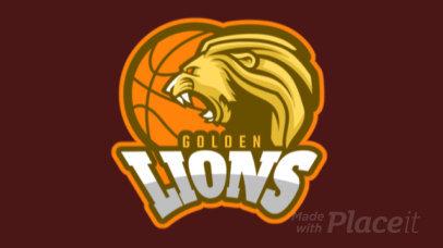 Animated Basketball Logo Maker Featuring a Roaring Golden Lion 336v-2937