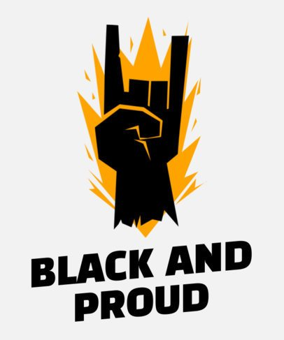 Black History Month-Themed T-Shirt Design Template with a Hand Sign Graphic 2040m-2264