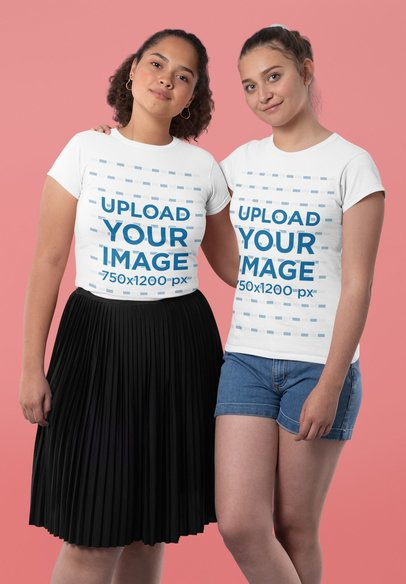 T-Shirt Mockup Featuring Two Women Posing in a Studio 31984