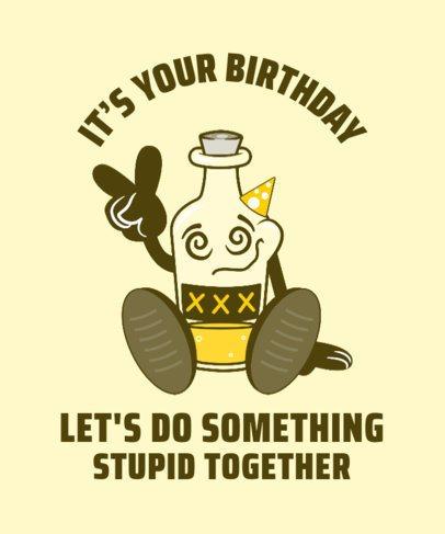 Party T-Shirt Design Maker Featuring a Cartoonish Liquor Bottle Character 2225D