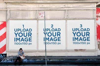 Mockup Featuring Three Billboards Placed on an Old Urban Wall 2742-el1