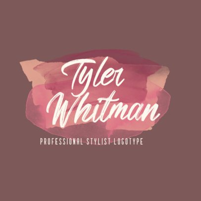 Professional Stylist Logo Creator with a Watercolor Pattern 2922e